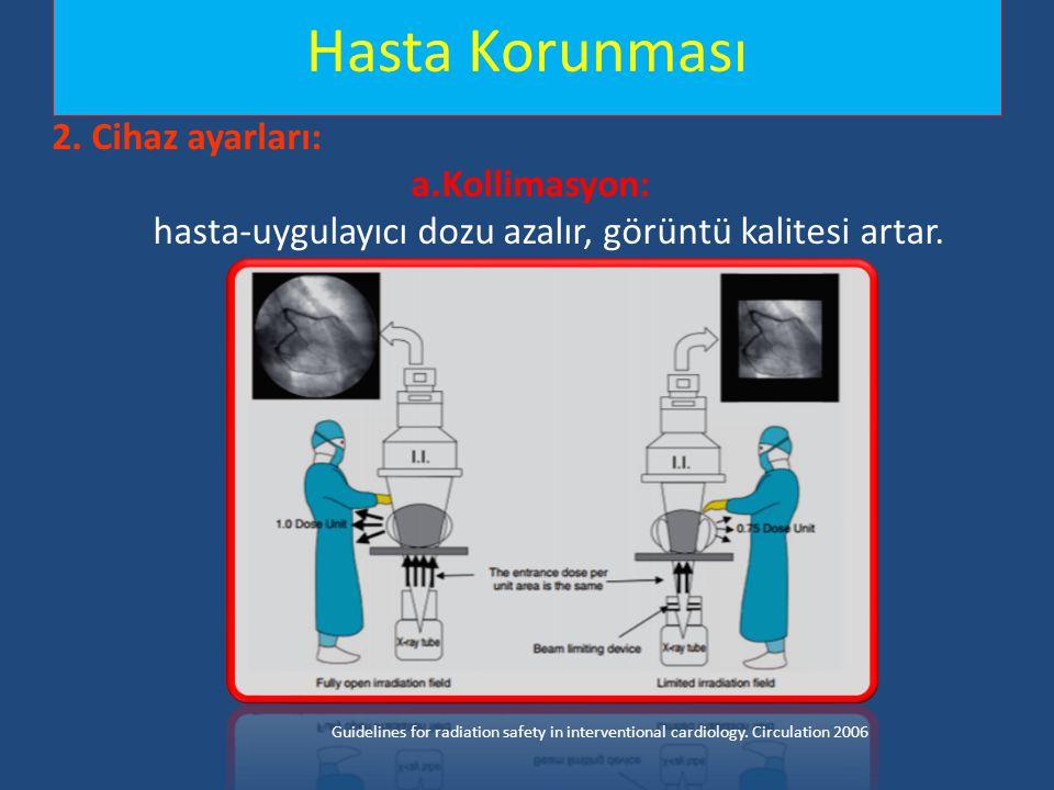 Hasta Korunması 2. Cihaz ayarları: a.Kollimasyon: hasta-uygulayıcı dozu azalır, görüntü kalitesi artar. Guidelines for radiation safety in interventio