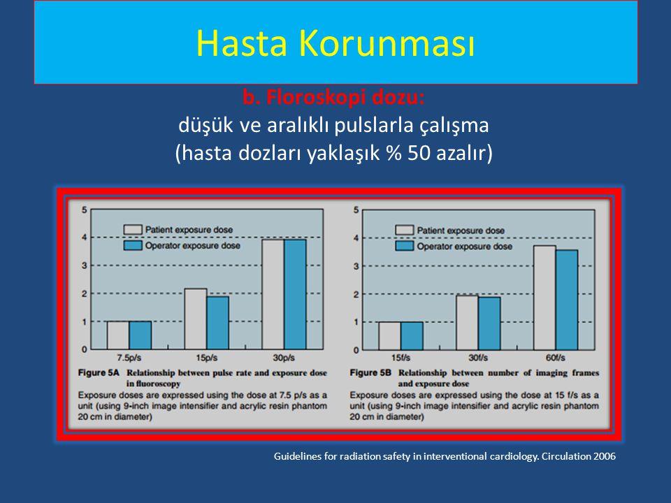 Hasta Korunması b. Floroskopi dozu: düşük ve aralıklı pulslarla çalışma (hasta dozları yaklaşık % 50 azalır) Guidelines for radiation safety in interv