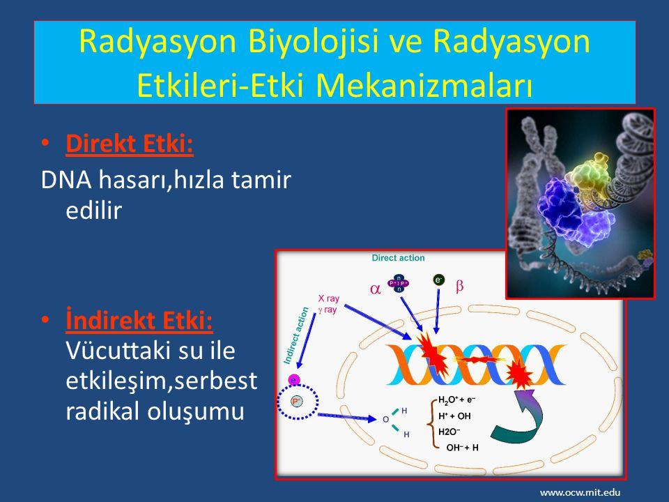 Radyasyon Biyolojisi ve Radyasyon Etkileri-Etki Mekanizmaları Direkt Etki: DNA hasarı,hızla tamir edilir İndirekt Etki: Vücuttaki su ile etkileşim,ser