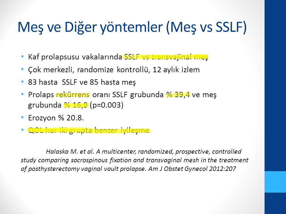 Meş ve Diğer yöntemler (Meş vs SSLF) Kaf prolapsusu vakalarında SSLF vs transvajinal meş Çok merkezli, randomize kontrollü, 12 aylık izlem 83 hasta SSLF ve 85 hasta meş Prolaps rekürrens oranı SSLF grubunda % 39,4 ve meş grubunda % 16,9 (p=0.003) Erozyon % 20.8.