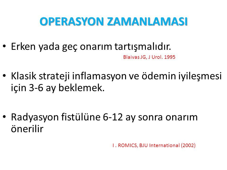 OPERASYON ZAMANLAMASI Erken yada geç onarım tartışmalıdır. Blaivas JG, J Urol. 1995 Klasik strateji inflamasyon ve ödemin iyileşmesi için 3-6 ay bekle