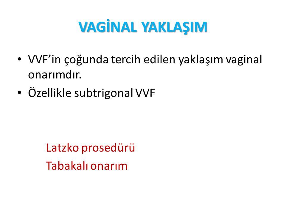 VAGİNAL YAKLAŞIM VVF'in çoğunda tercih edilen yaklaşım vaginal onarımdır. Özellikle subtrigonal VVF Latzko prosedürü Tabakalı onarım