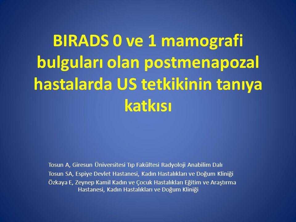 BIRADS 0 ve 1 mamografi bulguları olan postmenapozal hastalarda US tetkikinin tanıya katkısı Tosun A, Giresun Üniversitesi Tıp Fakültesi Radyoloji Ana