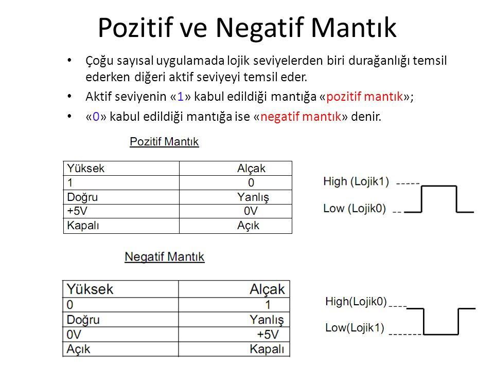 Pozitif ve Negatif Mantık Çoğu sayısal uygulamada lojik seviyelerden biri durağanlığı temsil ederken diğeri aktif seviyeyi temsil eder. Aktif seviyeni