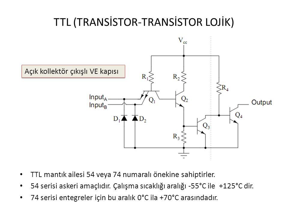 TTL (TRANSİSTOR-TRANSİSTOR LOJİK) TTL mantık ailesi 54 veya 74 numaralı önekine sahiptirler. 54 serisi askeri amaçlıdır. Çalışma sıcaklığı aralığı -55