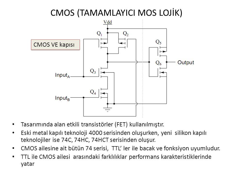 CMOS (TAMAMLAYICI MOS LOJİK) Tasarımında alan etkili transistörler (FET) kullanılmıştır. Eski metal kapılı teknoloji 4000 serisinden oluşurken, yeni s
