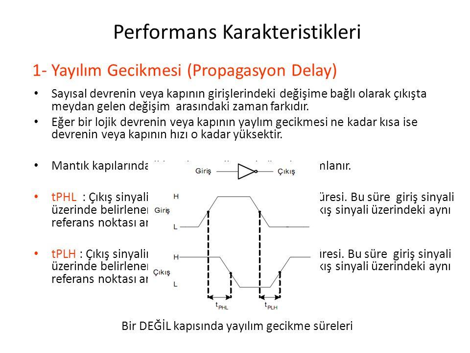 Performans Karakteristikleri Sayısal devrenin veya kapının girişlerindeki değişime bağlı olarak çıkışta meydan gelen değişim arasındaki zaman farkıdır