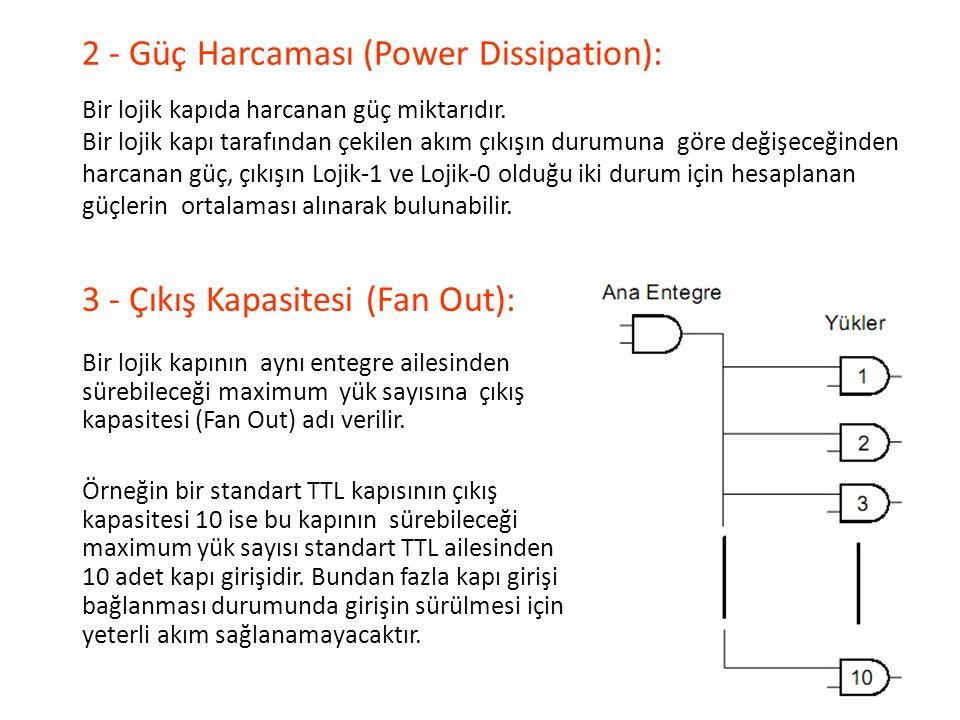2 - Güç Harcaması (Power Dissipation): Bir lojik kapıda harcanan güç miktarıdır. Bir lojik kapı tarafından çekilen akım çıkışın durumuna göre değişece
