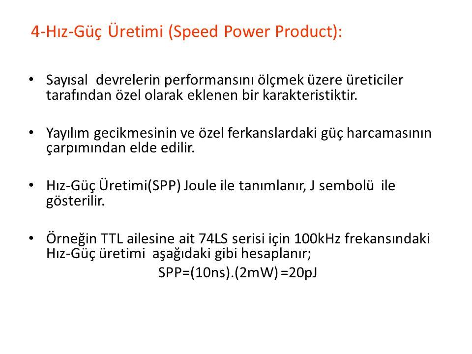 4-Hız-Güç Üretimi (Speed Power Product): Sayısal devrelerin performansını ölçmek üzere üreticiler tarafından özel olarak eklenen bir karakteristiktir.