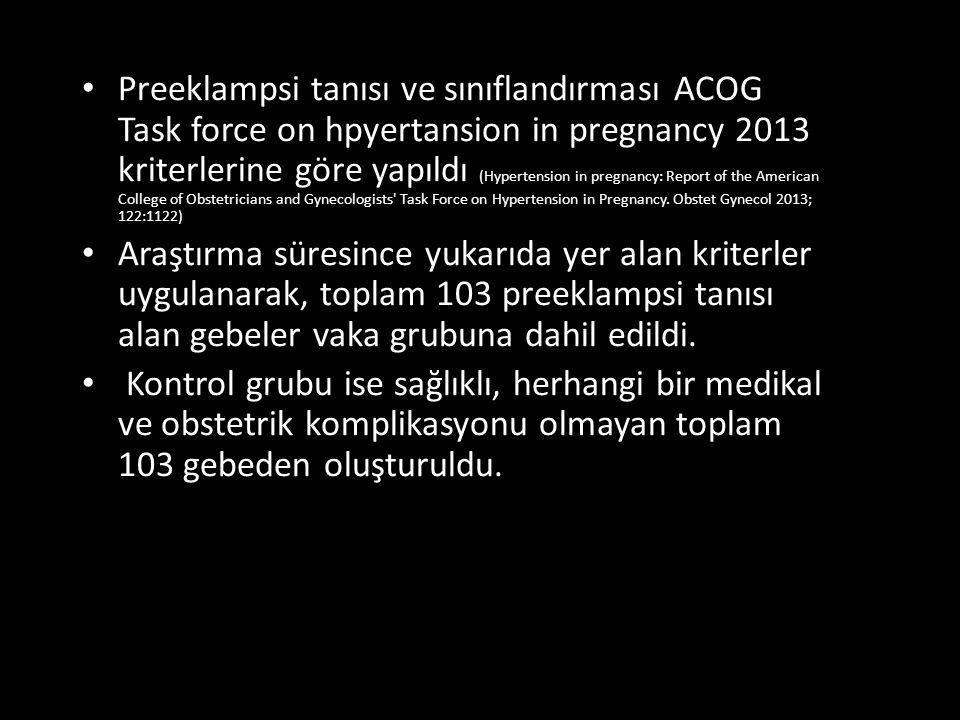 Preeklampsi tanısı ve sınıflandırması ACOG Task force on hpyertansion in pregnancy 2013 kriterlerine göre yapıldı (Hypertension in pregnancy: Report of the American College of Obstetricians and Gynecologists Task Force on Hypertension in Pregnancy.