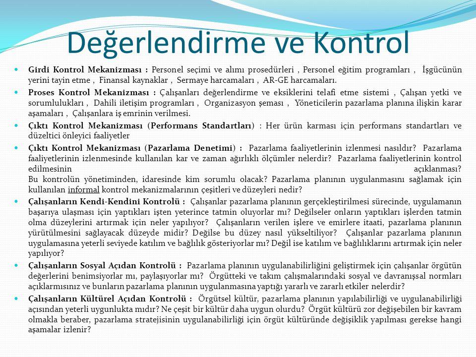 Değerlendirme ve Kontrol Girdi Kontrol Mekanizması : Personel seçimi ve alımı prosedürleri, Personel eğitim programları, İşgücünün yerini tayin etme,