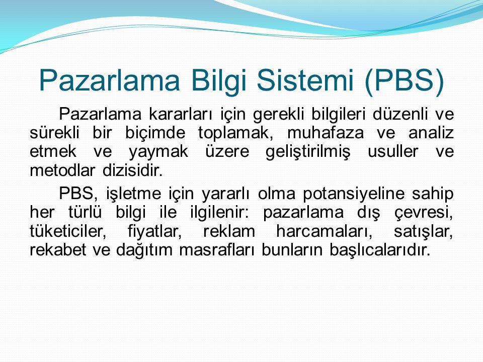 Pazarlama Bilgi Sistemi (PBS) Pazarlama kararları için gerekli bilgileri düzenli ve sürekli bir biçimde toplamak, muhafaza ve analiz etmek ve yaymak ü