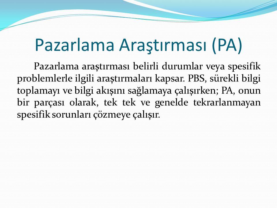 Pazarlama Araştırması (PA) Pazarlama araştırması belirli durumlar veya spesifik problemlerle ilgili araştırmaları kapsar. PBS, sürekli bilgi toplamayı