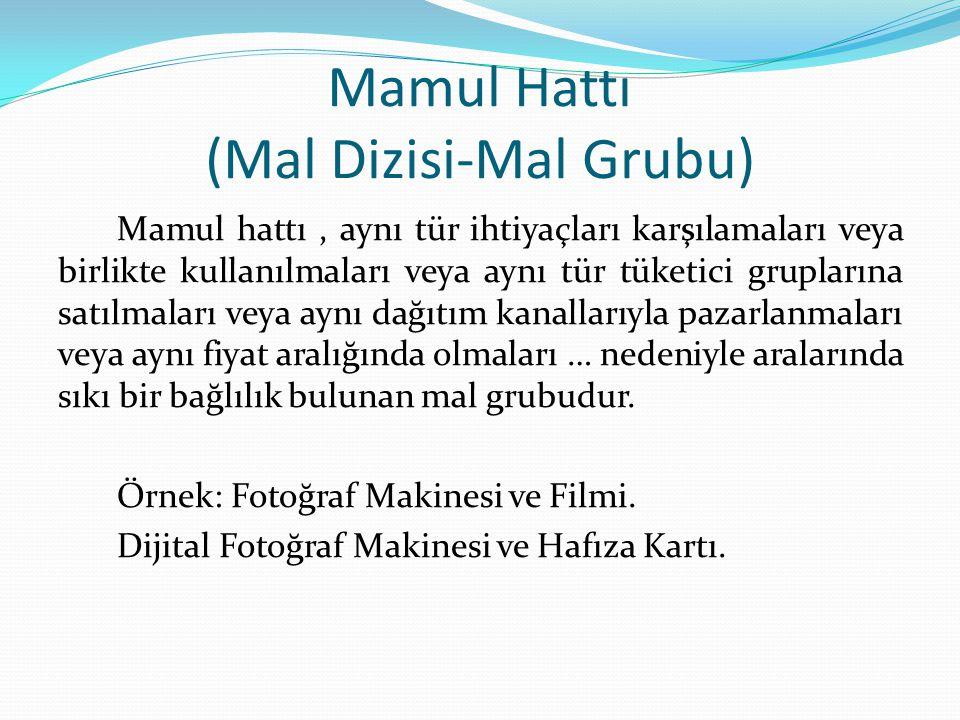 Mamul Hattı (Mal Dizisi-Mal Grubu) Mamul hattı, aynı tür ihtiyaçları karşılamaları veya birlikte kullanılmaları veya aynı tür tüketici gruplarına satı