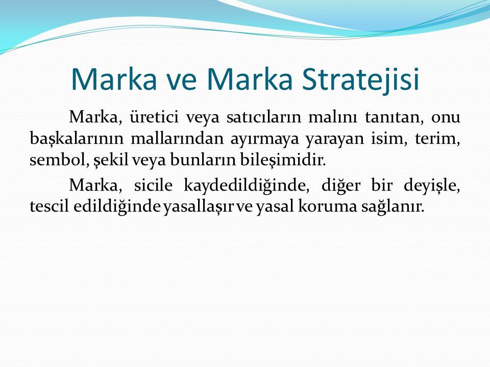 Marka ve Marka Stratejisi Marka, üretici veya satıcıların malını tanıtan, onu başkalarının mallarından ayırmaya yarayan isim, terim, sembol, şekil vey