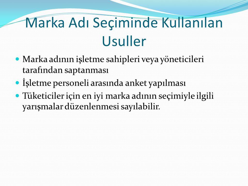Marka Adı Seçiminde Kullanılan Usuller Marka adının işletme sahipleri veya yöneticileri tarafından saptanması İşletme personeli arasında anket yapılma