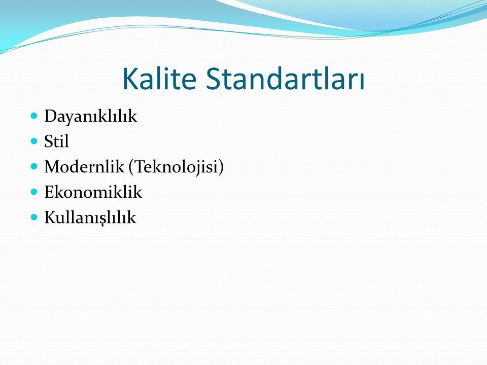 Kalite Standartları Dayanıklılık Stil Modernlik (Teknolojisi) Ekonomiklik Kullanışlılık
