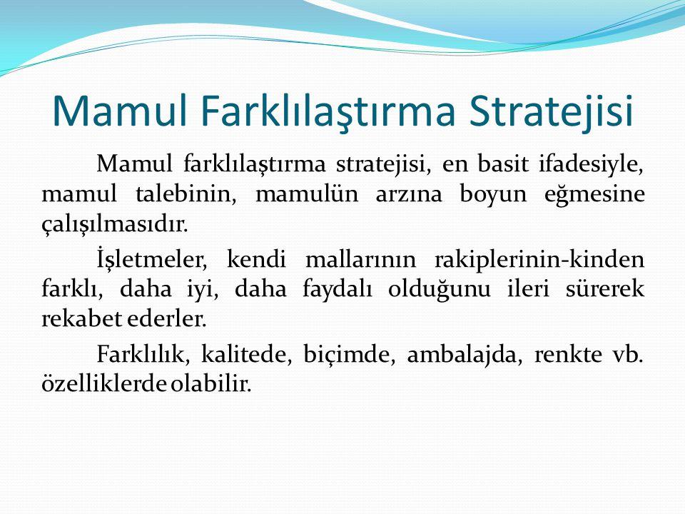 Mamul Farklılaştırma Stratejisi Mamul farklılaştırma stratejisi, en basit ifadesiyle, mamul talebinin, mamulün arzına boyun eğmesine çalışılmasıdır. İ