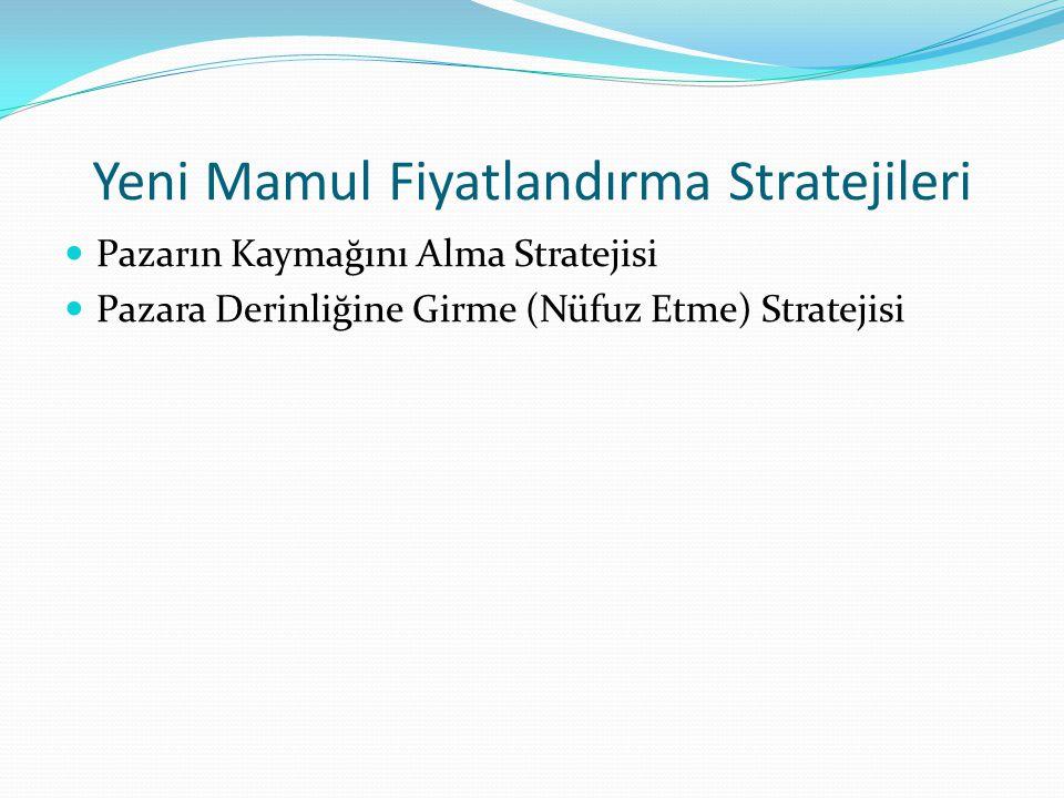 Yeni Mamul Fiyatlandırma Stratejileri Pazarın Kaymağını Alma Stratejisi Pazara Derinliğine Girme (Nüfuz Etme) Stratejisi