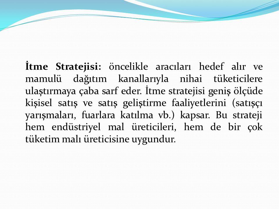 İtme Stratejisi: öncelikle aracıları hedef alır ve mamulü dağıtım kanallarıyla nihai tüketicilere ulaştırmaya çaba sarf eder. İtme stratejisi geniş öl