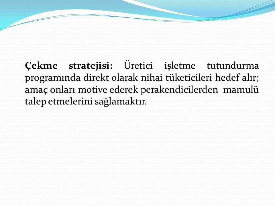 Çekme stratejisi: Üretici işletme tutundurma programında direkt olarak nihai tüketicileri hedef alır; amaç onları motive ederek perakendicilerden mamu