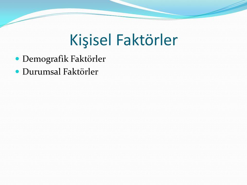 Kişisel Faktörler Demografik Faktörler Durumsal Faktörler