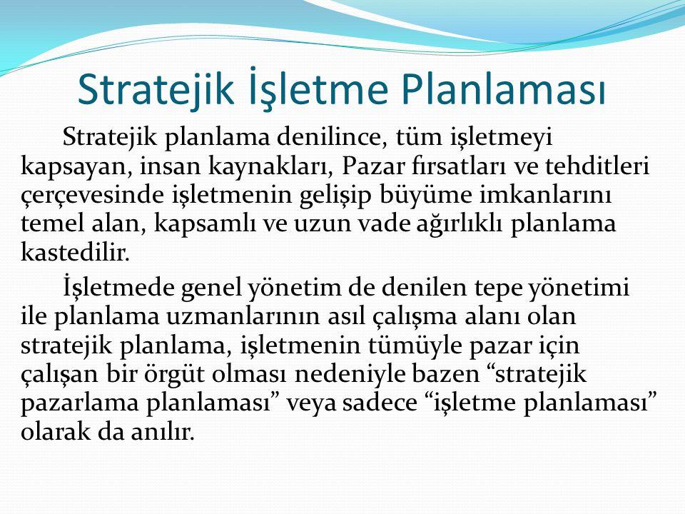 Stratejik İşletme Planlaması Stratejik planlama denilince, tüm işletmeyi kapsayan, insan kaynakları, Pazar fırsatları ve tehditleri çerçevesinde işlet