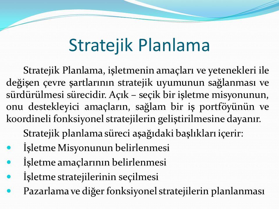 Stratejik Planlama Stratejik Planlama, işletmenin amaçları ve yetenekleri ile değişen çevre şartlarının stratejik uyumunun sağlanması ve sürdürülmesi