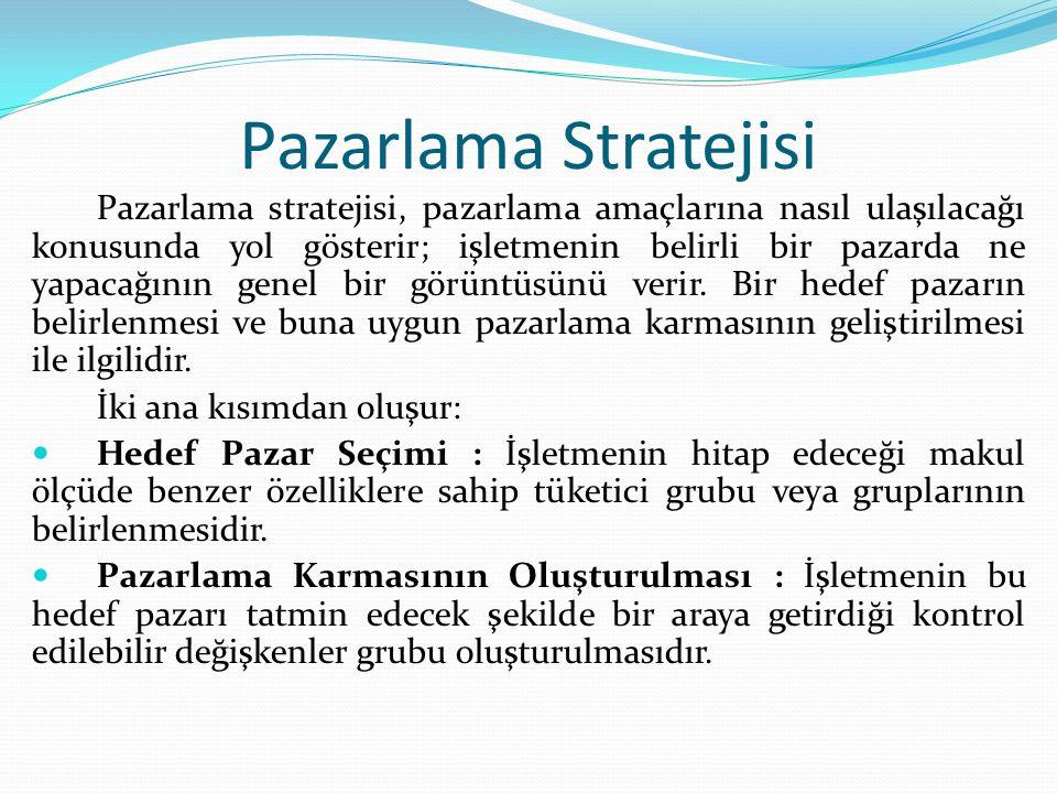 Pazarlama Stratejisi Pazarlama stratejisi, pazarlama amaçlarına nasıl ulaşılacağı konusunda yol gösterir; işletmenin belirli bir pazarda ne yapacağını