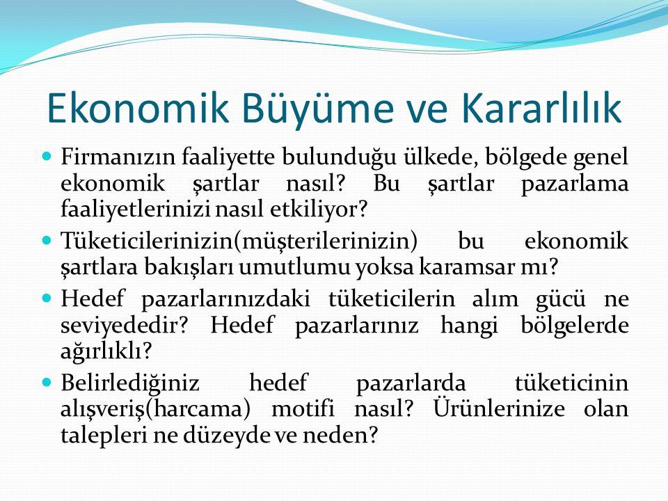 Ekonomik Büyüme ve Kararlılık Firmanızın faaliyette bulunduğu ülkede, bölgede genel ekonomik şartlar nasıl? Bu şartlar pazarlama faaliyetlerinizi nası