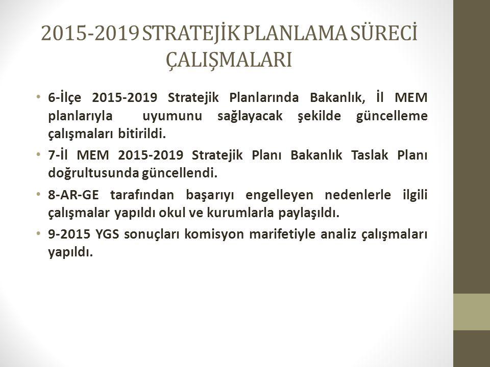 2015-2019 STRATEJİK PLANLAMA SÜRECİ ÇALIŞMALARI 6-İlçe 2015-2019 Stratejik Planlarında Bakanlık, İl MEM planlarıyla uyumunu sağlayacak şekilde güncell