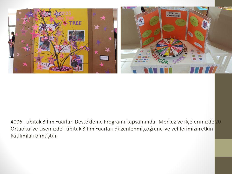 4006 Tübitak Bilim Fuarları Destekleme Programı kapsamında Merkez ve ilçelerimizde 20 Ortaokul ve Lisemizde Tübitak Bilim Fuarları düzenlenmiş,öğrenci