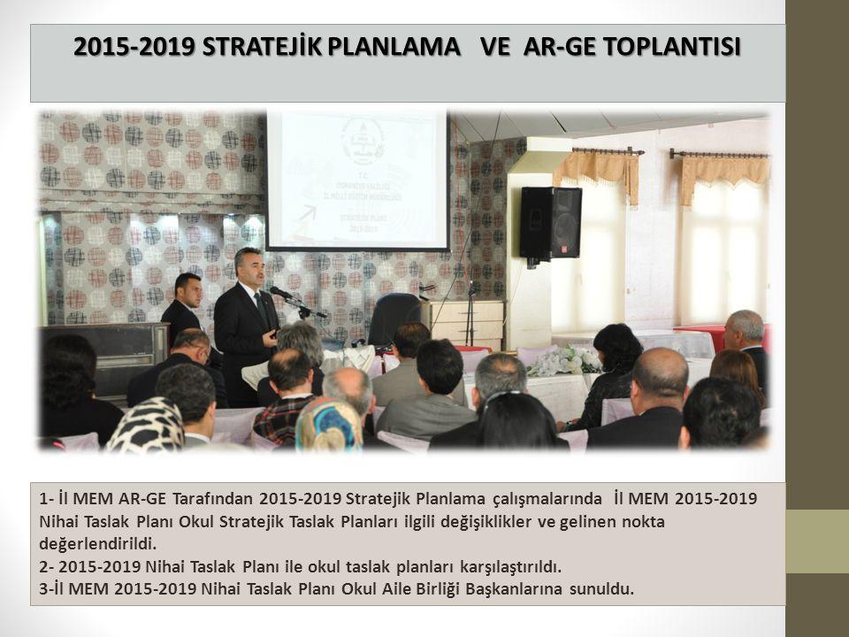 2015-2019 STRATEJİK PLANLAMA VE AR-GE TOPLANTISI 1- İl MEM AR-GE Tarafından 2015-2019 Stratejik Planlama çalışmalarında İl MEM 2015-2019 Nihai Taslak