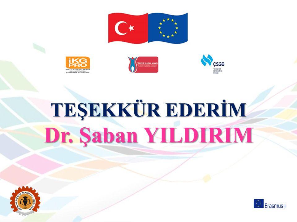 TEŞEKKÜR EDERİM Dr. Şaban YILDIRIM