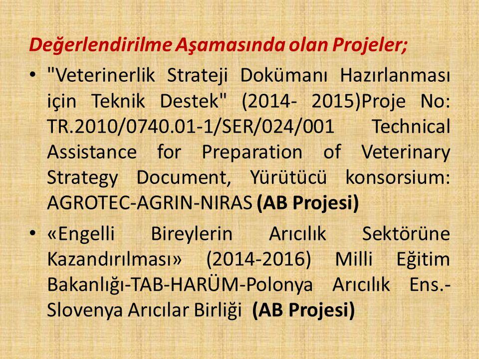 Değerlendirilme Aşamasında olan Projeler; Veterinerlik Strateji Dokümanı Hazırlanması için Teknik Destek (2014- 2015)Proje No: TR.2010/0740.01-1/SER/024/001 Technical Assistance for Preparation of Veterinary Strategy Document, Yürütücü konsorsium: AGROTEC-AGRIN-NIRAS (AB Projesi) «Engelli Bireylerin Arıcılık Sektörüne Kazandırılması» (2014-2016) Milli Eğitim Bakanlığı-TAB-HARÜM-Polonya Arıcılık Ens.- Slovenya Arıcılar Birliği (AB Projesi)