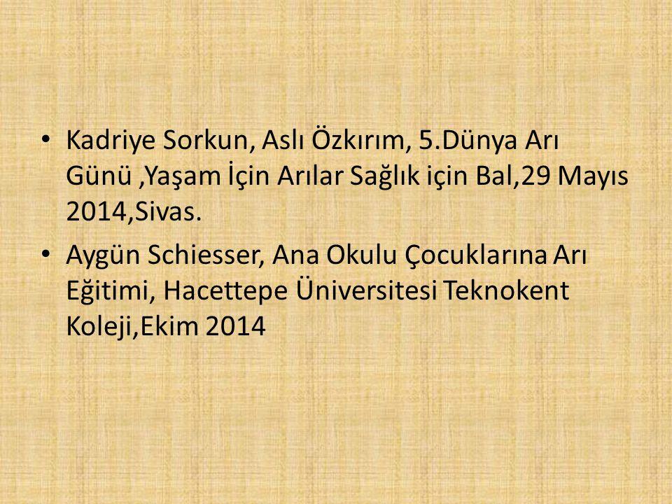 Kadriye Sorkun, Aslı Özkırım, 5.Dünya Arı Günü,Yaşam İçin Arılar Sağlık için Bal,29 Mayıs 2014,Sivas.