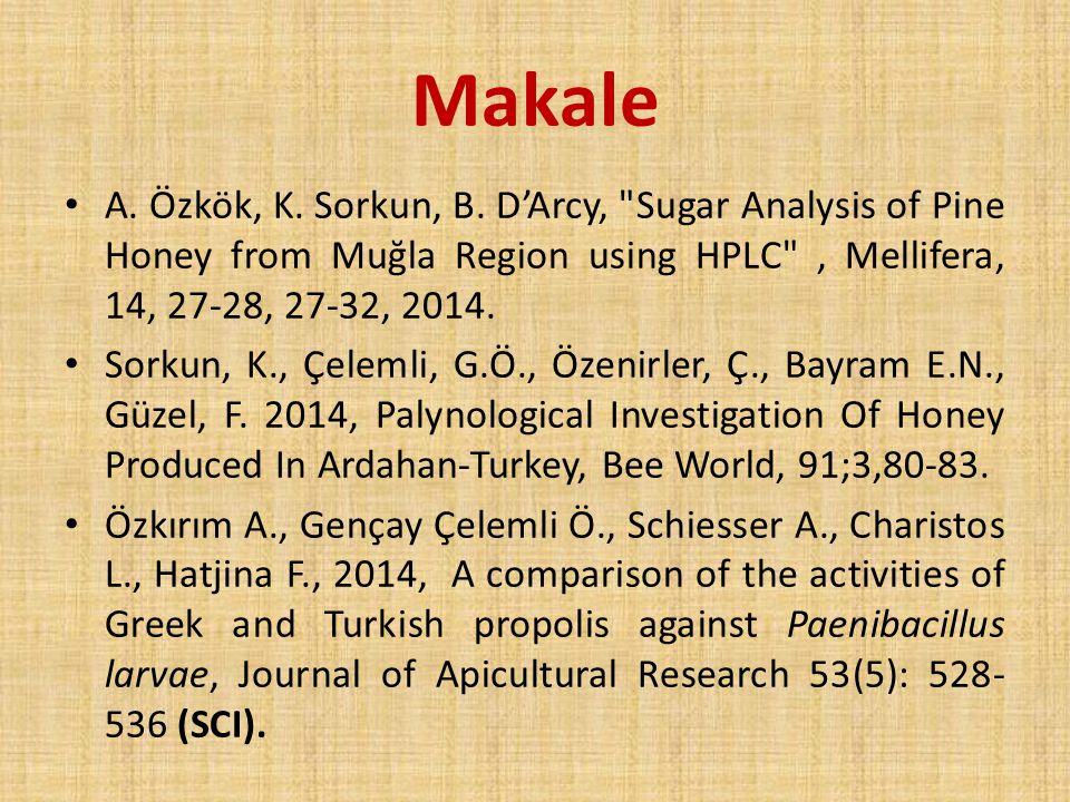 Makale A.Özkök, K. Sorkun, B.