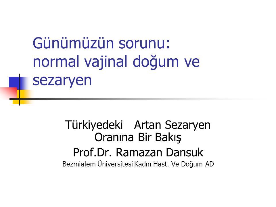 Günümüzün sorunu: normal vajinal doğum ve sezaryen Türkiyedeki Artan Sezaryen Oranına Bir Bakış Prof.Dr. Ramazan Dansuk Bezmialem Üniversitesi Kadın H