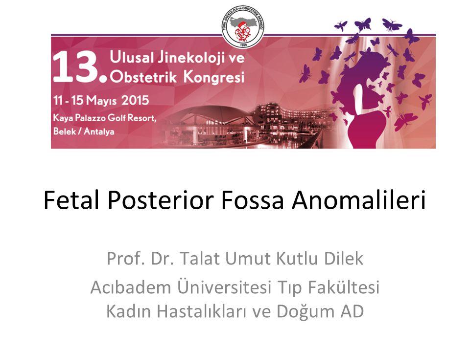 Fetal Posterior Fossa Anomalileri Prof. Dr. Talat Umut Kutlu Dilek Acıbadem Üniversitesi Tıp Fakültesi Kadın Hastalıkları ve Doğum AD