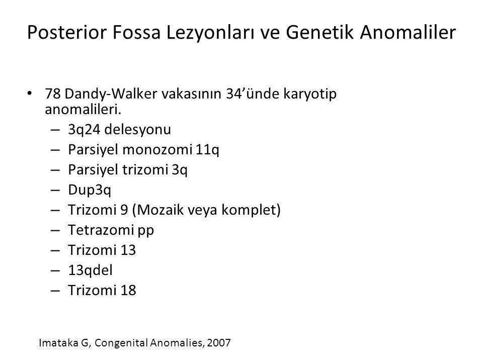 Posterior Fossa Lezyonları ve Genetik Anomaliler 78 Dandy-Walker vakasının 34'ünde karyotip anomalileri. – 3q24 delesyonu – Parsiyel monozomi 11q – Pa