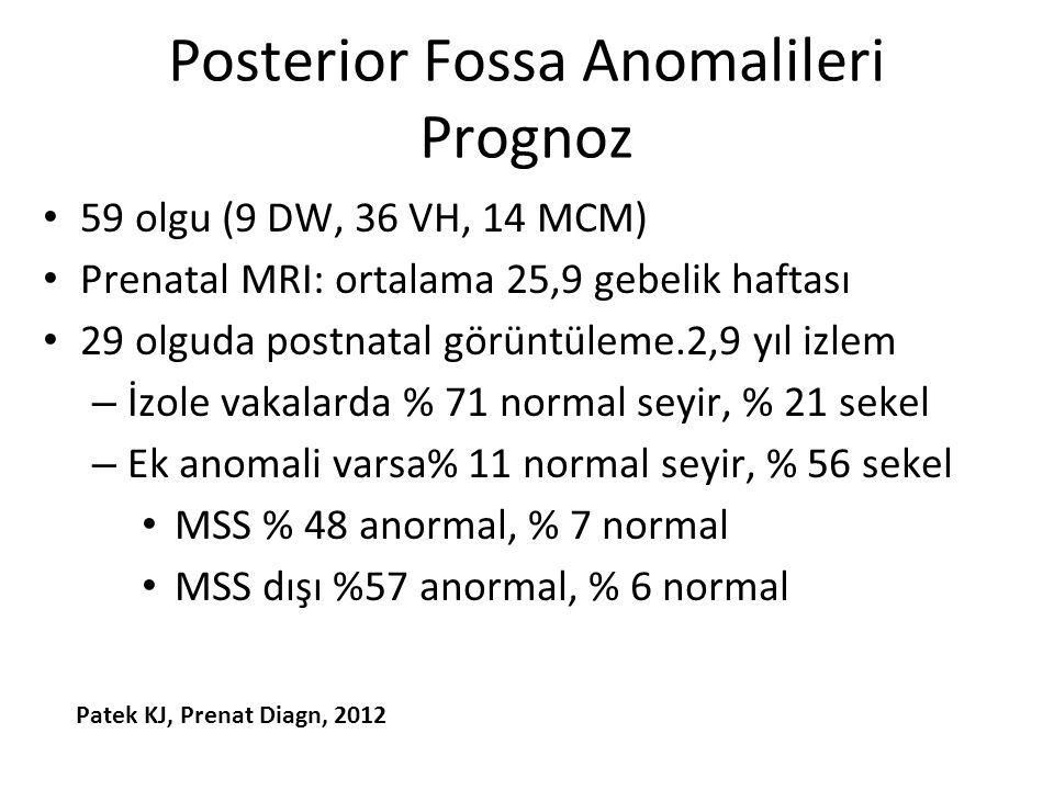 Posterior Fossa Anomalileri Prognoz 59 olgu (9 DW, 36 VH, 14 MCM) Prenatal MRI: ortalama 25,9 gebelik haftası 29 olguda postnatal görüntüleme.2,9 yıl