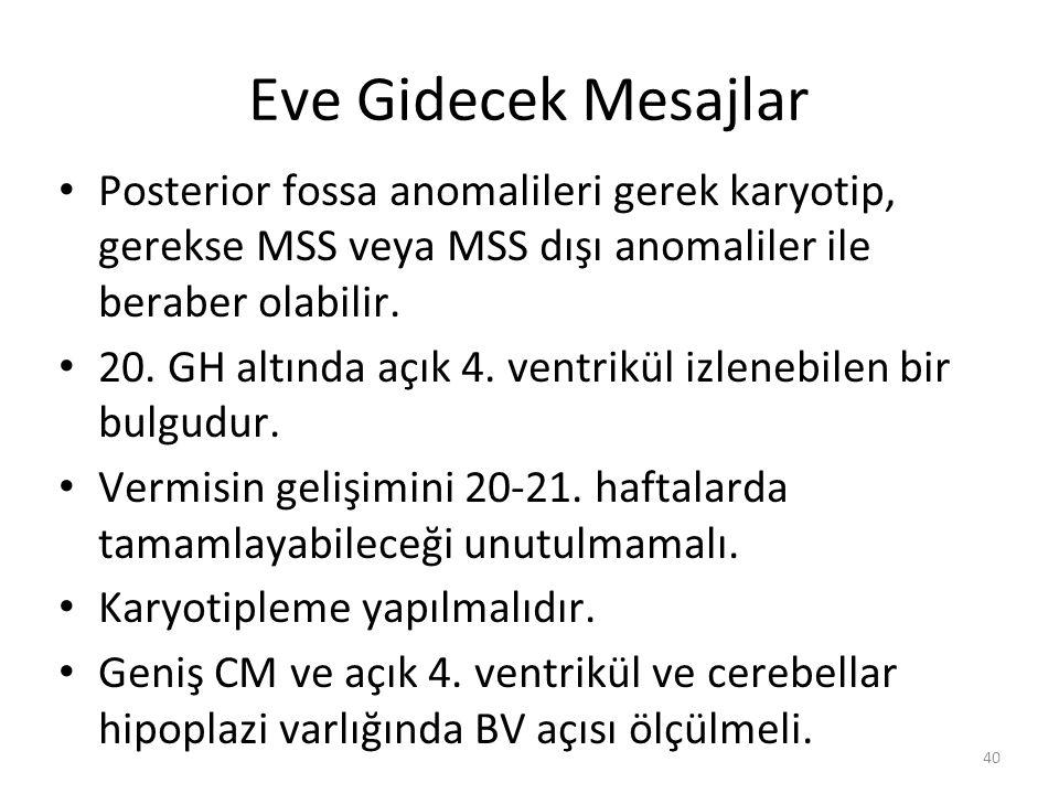 Eve Gidecek Mesajlar Posterior fossa anomalileri gerek karyotip, gerekse MSS veya MSS dışı anomaliler ile beraber olabilir. 20. GH altında açık 4. ven
