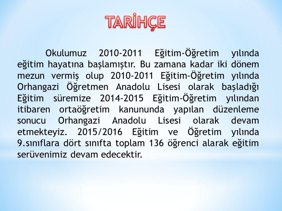 Okulumuz 2010-2011 Eğitim-Öğretim yılında eğitim hayatına başlamıştır. Bu zamana kadar iki dönem mezun vermiş olup 2010-2011 Eğitim-Öğretim yılında Or