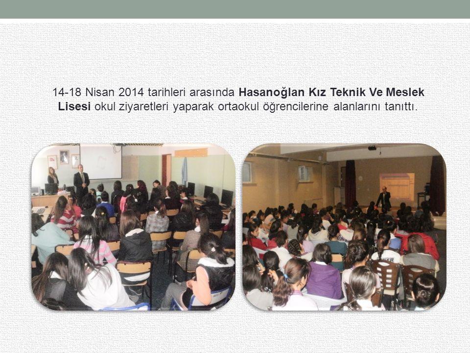 14-18 Nisan 2014 tarihleri arasında Hasanoğlan Kız Teknik Ve Meslek Lisesi okul ziyaretleri yaparak ortaokul öğrencilerine alanlarını tanıttı.