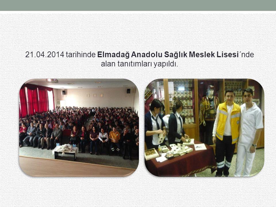 21.04.2014 tarihinde Elmadağ Anadolu Sağlık Meslek Lisesi´nde alan tanıtımları yapıldı.