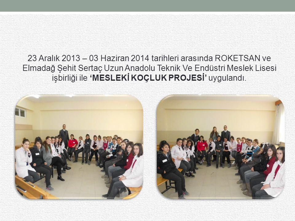 23 Aralık 2013 – 03 Haziran 2014 tarihleri arasında ROKETSAN ve Elmadağ Şehit Sertaç Uzun Anadolu Teknik Ve Endüstri Meslek Lisesi işbirliği ile 'MESLEKİ KOÇLUK PROJESİ' uygulandı.