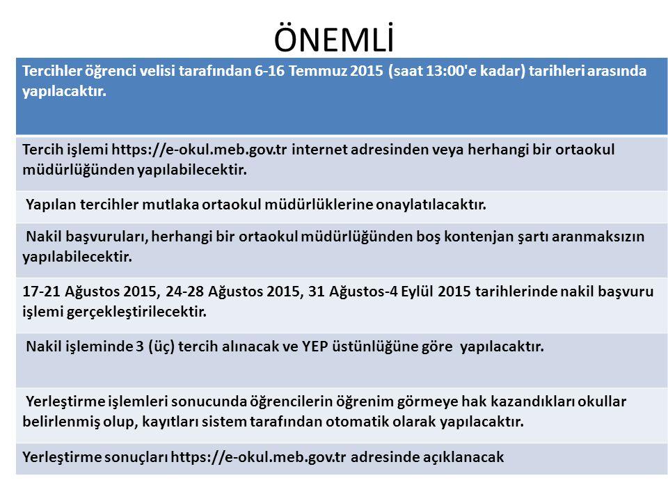 ÖNEMLİ Tercihler öğrenci velisi tarafından 6-16 Temmuz 2015 (saat 13:00'e kadar) tarihleri arasında yapılacaktır. Tercih işlemi https://e-okul.meb.gov