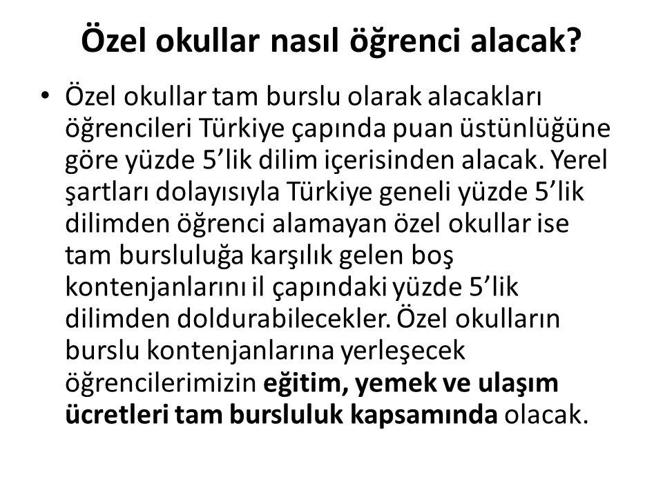 Özel okullar nasıl öğrenci alacak? Özel okullar tam burslu olarak alacakları öğrencileri Türkiye çapında puan üstünlüğüne göre yüzde 5'lik dilim içeri