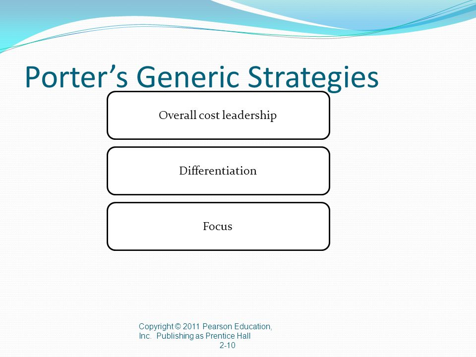 Porter's Generic Strategies Copyright © 2011 Pearson Education, Inc. Publishing as Prentice Hall 2-10 Overall cost leadership Differentiation Focus