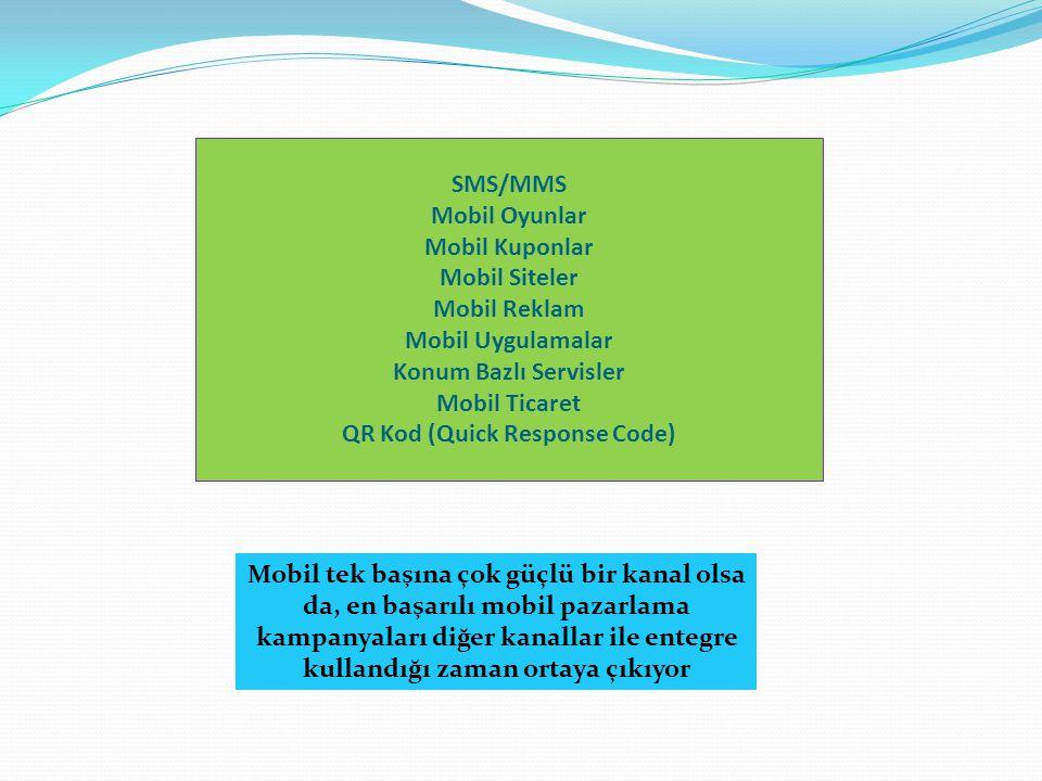 SMS/MMS Mobil Oyunlar Mobil Kuponlar Mobil Siteler Mobil Reklam Mobil Uygulamalar Konum Bazlı Servisler Mobil Ticaret QR Kod (Quick Response Code) Mobil tek başına çok güçlü bir kanal olsa da, en başarılı mobil pazarlama kampanyaları diğer kanallar ile entegre kullandığı zaman ortaya çıkıyor